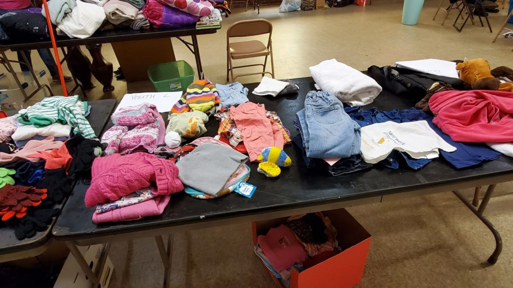 We gave away a lot of clothing for kids and adults